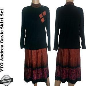 Vintage 80s 2 Pc Oversized Sweater Midi Skirt Set